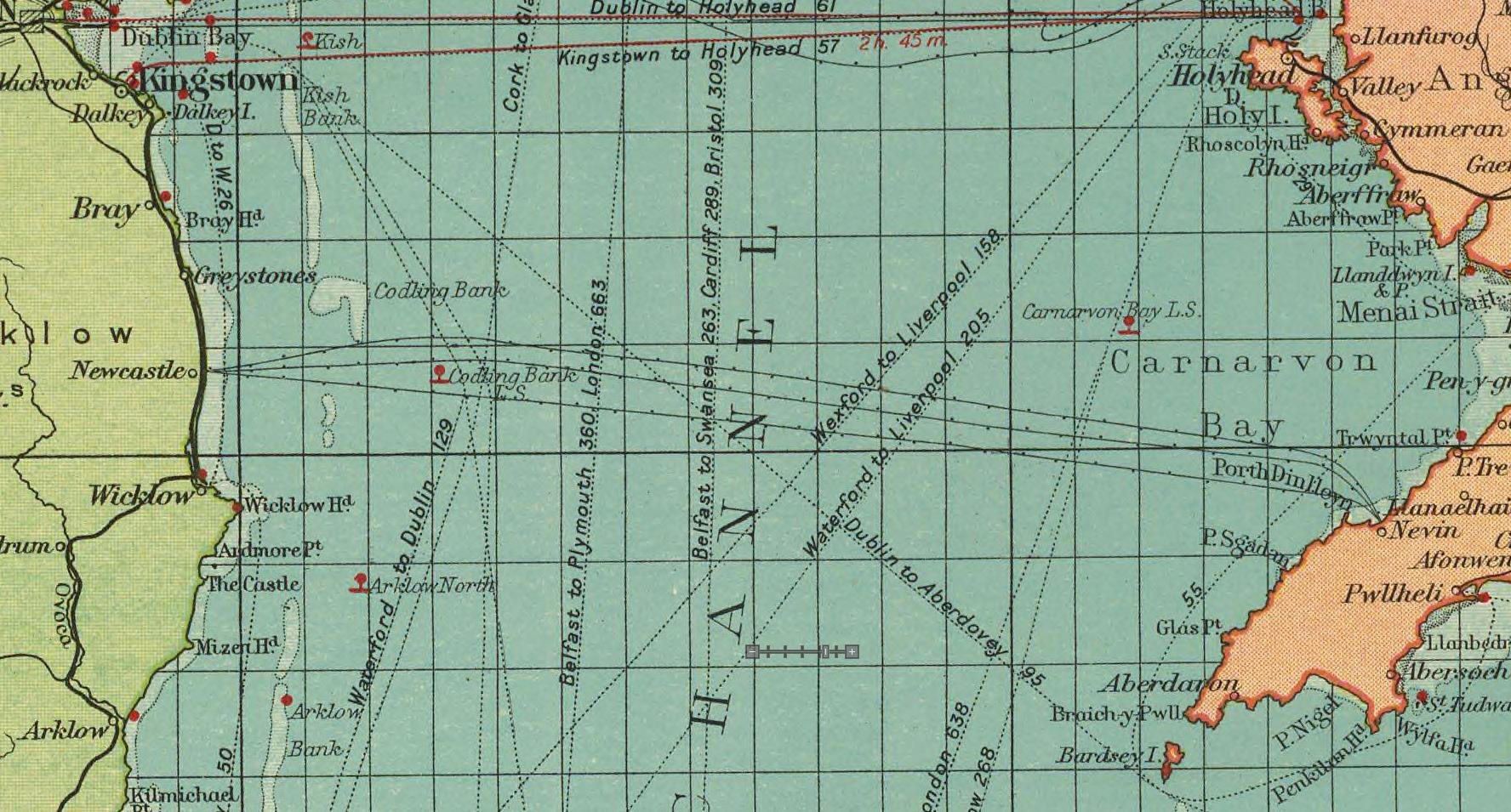 1922 Map Newcastle - Aber Geirch Cables